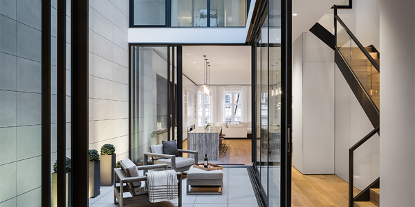 Landmarked 1867 structure reimagined as an ultra-luxury townhouse. 25 Mercer Townhouse, aka 27 Mercer, organizes its spaces around a three-story courtyard, bringing light deep into the residential areas. 25 Mercer Townhouse.